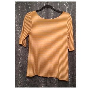 Mustard yellow striped blouse